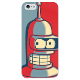 "Чехол для iPhone 5 глянцевый, с полной запечаткой ""бендер (Bender)"" - бендер, bender"