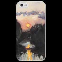 """Чехол для iPhone 5 глянцевый, с полной запечаткой """"Сумерки над озером"""" - картина, бакст"""