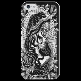 "Чехол для iPhone 5 глянцевый, с полной запечаткой ""Candy Skull"" - tattoo, чехол, candy skull, тату"