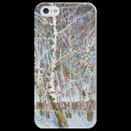 """Чехол для iPhone 5 глянцевый, с полной запечаткой """"Февральская лазурь"""" - картина, грабарь"""