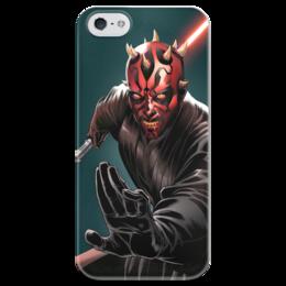 "Чехол для iPhone 5 глянцевый, с полной запечаткой ""Суперзлодеи: Dart Maul"" - комиксы, фантастика, супергерои, суперзлодеи, дарт маул"