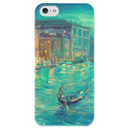 """Чехол для iPhone 5 глянцевый, с полной запечаткой """"Бирюзовый вечер  Венеции"""" - романтика, рисунок, живопись, венеция, venice"""