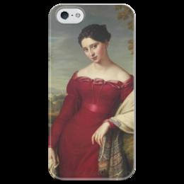 """Чехол для iPhone 5 глянцевый, с полной запечаткой """"Портрет молодой дамы в красном платье"""" - картина, лейболд"""
