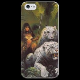 "Чехол для iPhone 5 глянцевый, с полной запечаткой ""Амазонка"" - тигр, воин, warrior, tigers, amazonian, амазонка"
