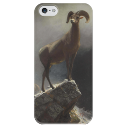 """Чехол для iPhone 5 глянцевый, с полной запечаткой """"Толсторог"""" - картина, бирштадт"""
