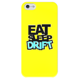 """Чехол для iPhone 5 глянцевый, с полной запечаткой """"Желтый дрифт"""" - дрифт, drift, eat sleep drift"""