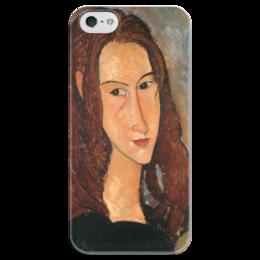 """Чехол для iPhone 5 глянцевый, с полной запечаткой """"Жанна Эбютерн"""" - картина, модильяни"""