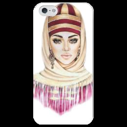 """Чехол для iPhone 5 глянцевый, с полной запечаткой """"Карачаевка"""" - девушка, карачаевка, горянка"""
