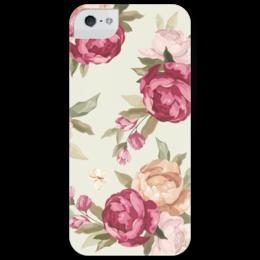 """Чехол для iPhone 5 глянцевый, с полной запечаткой """"Пионы"""" - цветы, красный, pink, розовый, пионы, нежный, peonies"""