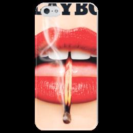 """Чехол для iPhone 5 глянцевый, с полной запечаткой """"Playboy Губы"""" - девушка, playboy, губы, плейбой, плэйбой"""
