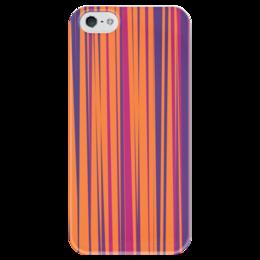 """Чехол для iPhone 5 глянцевый, с полной запечаткой """"Полосатая абстракция"""" - узор, стиль, рисунок, орнамент, абстрактный"""
