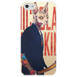 """Чехол для iPhone 5 глянцевый, с полной запечаткой """"Суровый кот"""" - арт, cat, суровый кот"""
