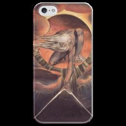 """Чехол для iPhone 5 глянцевый, с полной запечаткой """"Великий архитектор (Ветхий днями)"""" - картина, гравюра, блейк"""