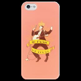 "Чехол для iPhone 5 глянцевый, с полной запечаткой ""Elvis Presley - the KING"" - king, ретро, элвис, elvis presley, рок н ролл, the king, элвис пресли"