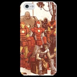 """Чехол для iPhone 5 глянцевый, с полной запечаткой """"Comics Art Series: Ironman"""" - рисунок, superhero, железный человек, тони старк, ironman"""