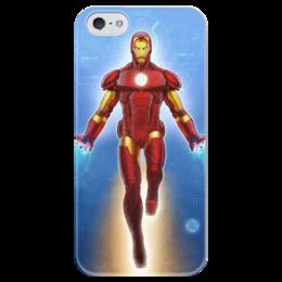 """Чехол для iPhone 5 глянцевый, с полной запечаткой """"Iron Man"""" - comics, комиксы, герой, иллюстрация, marvel, марвел, hero, железный человек, фэн, ironman"""