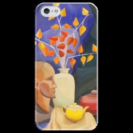 """Чехол для iPhone 5 глянцевый, с полной запечаткой """"Живописный """" - голова, арт, популярные, женская, рисунок, в подарок, картина, искусство, креативно, живопись"""