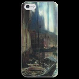 """Чехол для iPhone 5 глянцевый, с полной запечаткой """"Геммерфест. Северное сияние"""" - картина, коровин"""