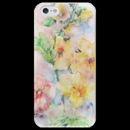 """Чехол для iPhone 5 глянцевый, с полной запечаткой """"Мальва. Букет"""" - цветок, желтый, оригинальный, акварель, нежный"""