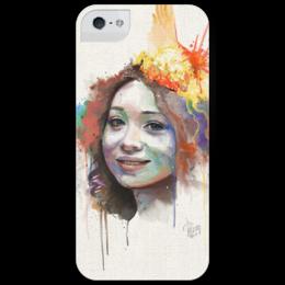 """Чехол для iPhone 5 глянцевый, с полной запечаткой """"Regina Spektor"""" - арт, портрет, регина спектор, regina spektor"""