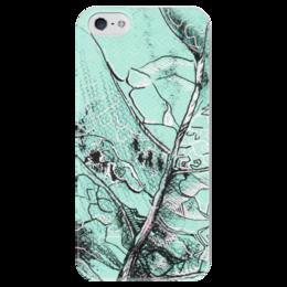 """Чехол для iPhone 5 глянцевый, с полной запечаткой """"Весенняя осень"""" - лист, рисунок, фактура"""