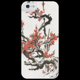 """Чехол для iPhone 5 глянцевый, с полной запечаткой """"Сакура"""" - цветы, белый, красный, искусство, дерево, япония, japan, сакура"""