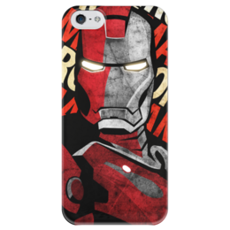 """Чехол для iPhone 5 глянцевый, с полной запечаткой """"Железный человек"""" - комиксы, железный человек, iron man, tony stark, тони старк"""