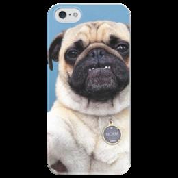 """Чехол для iPhone 5 глянцевый, с полной запечаткой """"Мопс селфи"""" - pug, мопс, мопс селфи"""