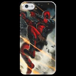 "Чехол для iPhone 5 глянцевый, с полной запечаткой ""Дэдпул (Deadpool)"" - комиксы, deadpool, марвел, дэдпу"