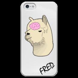 """Чехол для iPhone 5 глянцевый, с полной запечаткой """"Альпака Фред"""" - альпака, фред, alpaca, fred"""