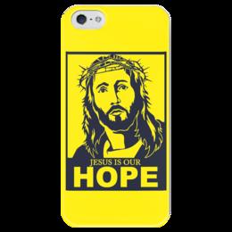 """Чехол для iPhone 5 глянцевый, с полной запечаткой """"Иисус - наша надежда"""" - вера, религия, иисус, бог, божество"""
