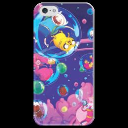 """Чехол для iPhone 5 глянцевый, с полной запечаткой """"Adventure Time Bubbles"""" - adventure time, время приключений, финн и джейк, бубль гум"""