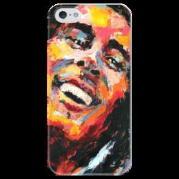 """Чехол для iPhone 5 глянцевый, с полной запечаткой """"Боб Марли"""" - боб марли, bob marley, reggae, регги"""