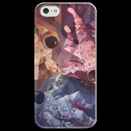 """Чехол для iPhone 5 глянцевый, с полной запечаткой """"Чехол Космонавты"""" - арт, звезды, космос, космонавты, astronaut, stars, space"""