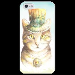 """Чехол для iPhone 5 глянцевый, с полной запечаткой """"Кот - Ваш лорд"""" - кот, арт, рисунок, стимпанк, механизмы"""