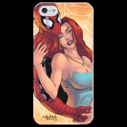 """Чехол для iPhone 5 глянцевый, с полной запечаткой """"Супергерои: Человек-паук и Мэри Джейн"""" - комиксы, фантастика, супергерои, суперзлодеи"""