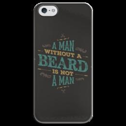 "Чехол для iPhone 5 глянцевый, с полной запечаткой ""A MAN WITHOUT A BEARD IS NOT A MAN"" - хипстер, борода, beard, man, hipster"