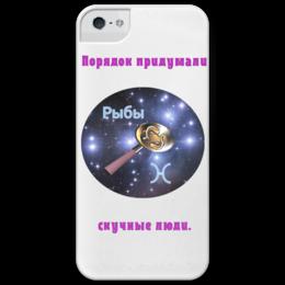 """Чехол для iPhone 5 глянцевый, с полной запечаткой """"Знаки зодиака """"Рыбы""""."""" - юмор, смешное, прикольные, в подарок, рыбы, знаки зодиака, оригинальный дизайн"""