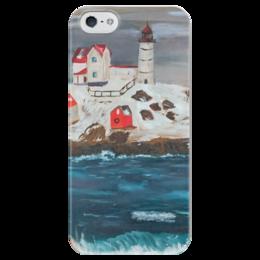 """Чехол для iPhone 5 глянцевый, с полной запечаткой """"На краю земли"""" - арт, море, импрессионизм, маяк, волны"""