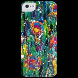"""Чехол для iPhone 5 глянцевый, с полной запечаткой """"Summer peacock dancing"""" - арт, лето, colors, summer, green, краски, павлин, авторский принт, peacock, kosa"""