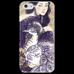 """Чехол для iPhone 5 глянцевый, с полной запечаткой """"Девушка и Павлин"""" - девушка, графика, иллюстрация, животные"""