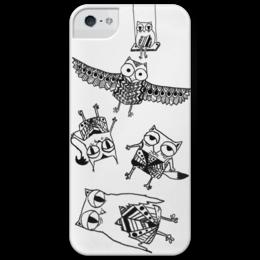 """Чехол для iPhone 5 глянцевый, с полной запечаткой """"Art Animals"""" - арт, рисунок, совы, owls"""