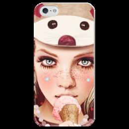 """Чехол для iPhone 5 глянцевый, с полной запечаткой """"Девочка с мороженным"""" - девушка, мороженное"""
