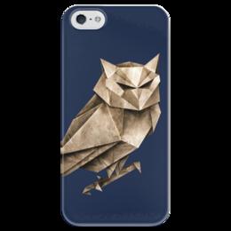 """Чехол для iPhone 5 глянцевый, с полной запечаткой """"Бумажный филин"""" - филин, owl, оригами, origami"""