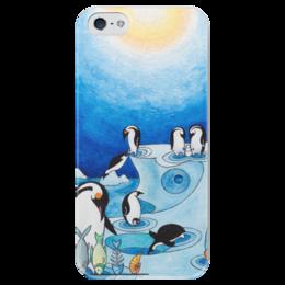 """Чехол для iPhone 5 глянцевый, с полной запечаткой """"Lollypups #11 (the pinguins) """" - арт, синий, пингвин"""
