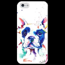 "Чехол для iPhone 5 глянцевый, с полной запечаткой ""Frenchie"" - собака, french bulldog, бульдог, французский бульдог, frenchie"