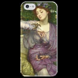 """Чехол для iPhone 5 глянцевый, с полной запечаткой """"Лесбия и её воробушек"""" - картина, пойнтер"""