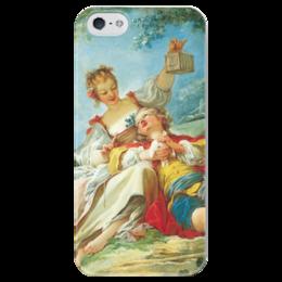 """Чехол для iPhone 5 глянцевый, с полной запечаткой """"Счастливые любовники"""" - картина, фрагонар"""
