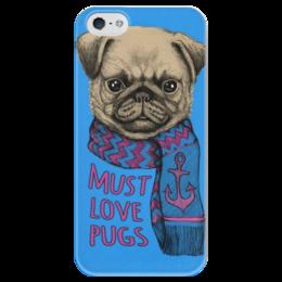 """Чехол для iPhone 5 глянцевый, с полной запечаткой """"Любите мопсов"""" - pug, шарф, мопс, мопс в шарфе"""