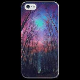 "Чехол для iPhone 5 глянцевый, с полной запечаткой ""space forest"" - арт, forest, лес, ночь, небо, космос"
